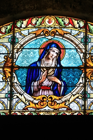 Stained glass in a church in the Provence, France