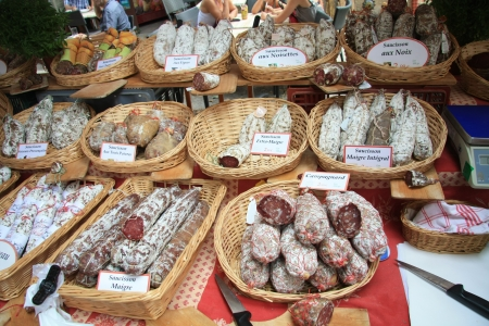 Traditional made sausages on a French market in the Provence Stock Photo - 13691908