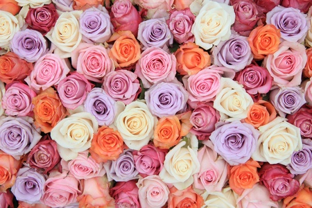 colores pastel: Nupcial arreglos florales con rosas en muchos colores pastel