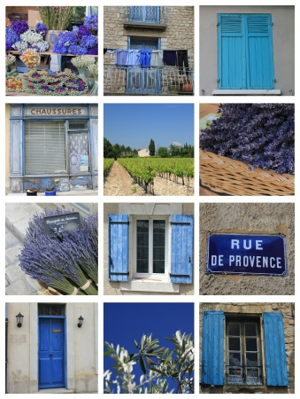 XL collage made from 12 high resolution Provence related images in blue