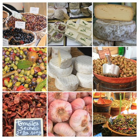 bedoin: XL collage made from 9 high resolution Provence food market images