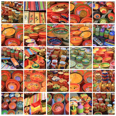 XL-collage made from 25 different high resolution provencal pottery images photo