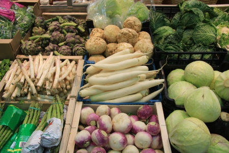 Various fresh vegetables on a local French market photo