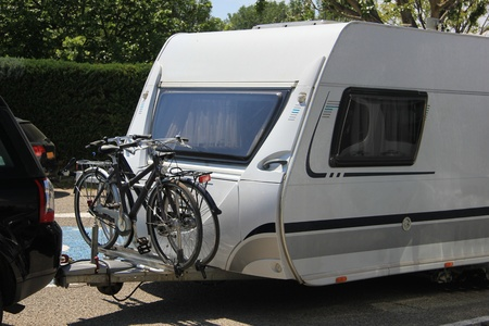 bikes loaded on a caravan for a vacation trip photo