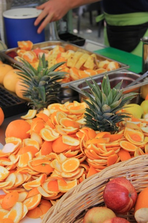 Juice bar or vitamin bar on a market in France, different sorts of fresh juice Stock Photo - 14014248
