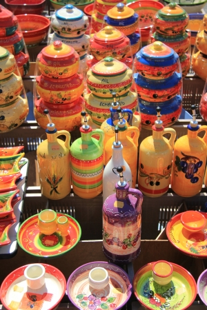 Traditional pottery on a local market in the Provence, France Stock Photo - 14138429