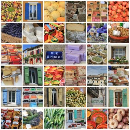 XL-collage gemaakt van 36 verschillende hoge resolutie Provence gerelateerde beelden Redactioneel