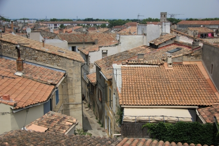 arles: View from above, rooftops in Arles, France