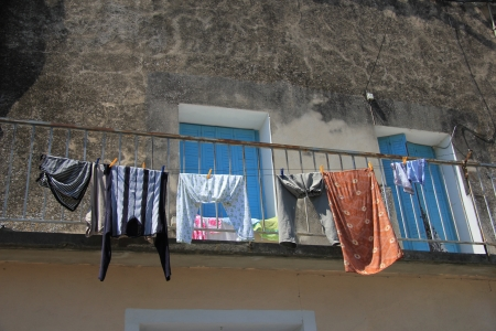 Laundry on a balcony in France photo
