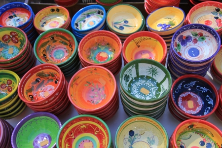 Handmade colorful pottery on a market in the Provence Stock Photo - 14062365