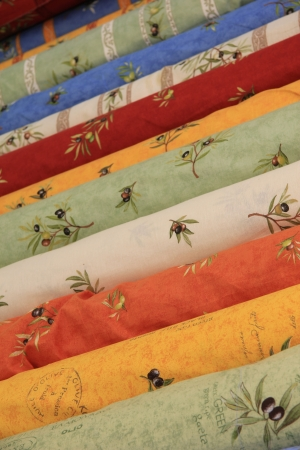bedoin: Traditional Provencal patterns on rolls of cotton on a local market Stock Photo