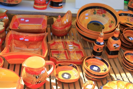 Traditional pottery on a local market in the Provence, France Stock Photo - 14129898
