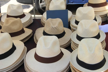 Panama hats on a french market in the Provence photo