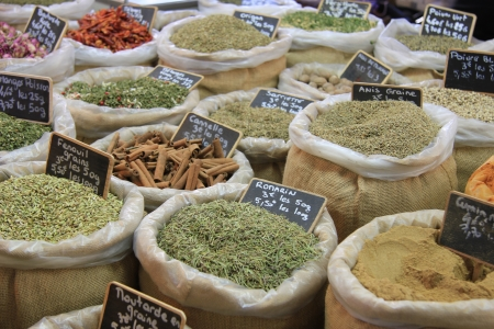 Herbes and spices in jute bags on a Provencal market in France Stock Photo - 14129918