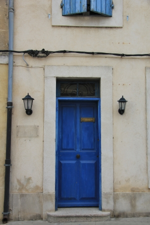 Big frontdoor of a Provencal house in France photo