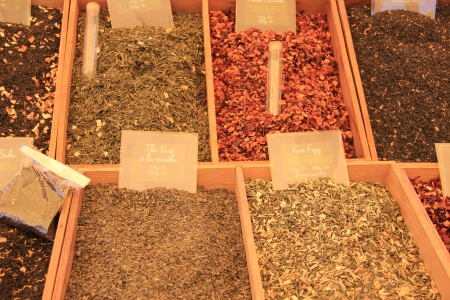 Colorful assortment of different herbs and spices on a Provencal market in France photo