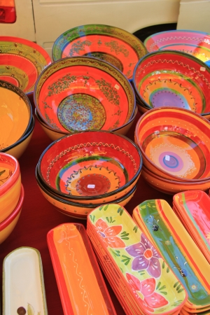 Handmade colorful pottery on a market in the Provence Stock Photo - 14188567