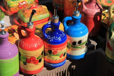 Traditional pottery on a local market in the Provence, France Stock Photo