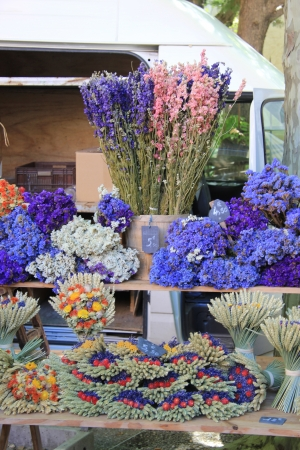 Lavender and other dried flowers on a local Provencal market photo