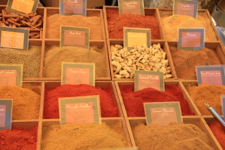 Colorful assortment of different herbs and spices on a Provencal market in France