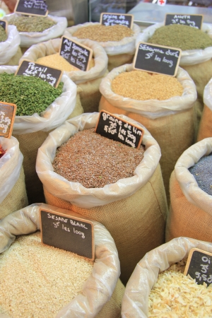 Herbes and spices in jute bags on a Provencal market in France Stock Photo - 14223967