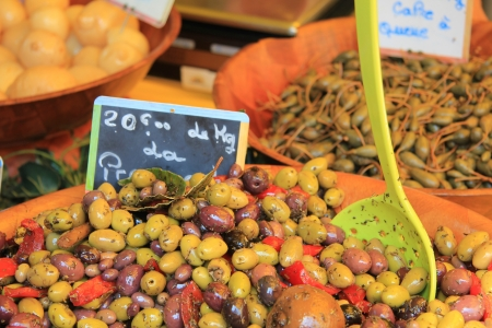 Assorted olives on a Provencal market in France photo
