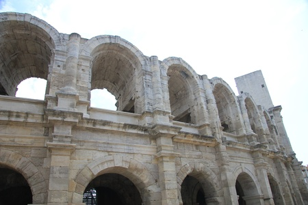 Detail of the Roman Arena in Arles, Provence, France