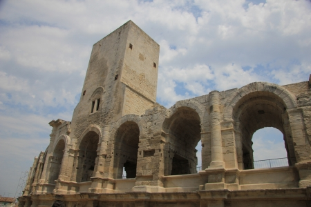 eacute: Detail of the Roman Arena in Arles, Provence, France