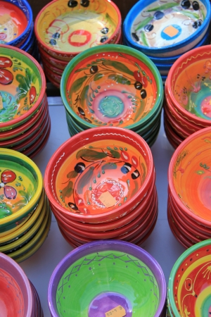 Traditional pottery on a local market in the Provence, France
