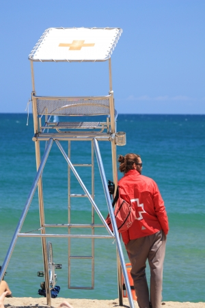 baywatch: Professional baywatch or life guard at the mediterranean sea