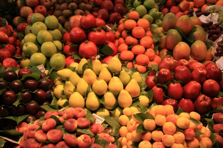 Various sorts of fruit at the market in Barcelona, Spain photo