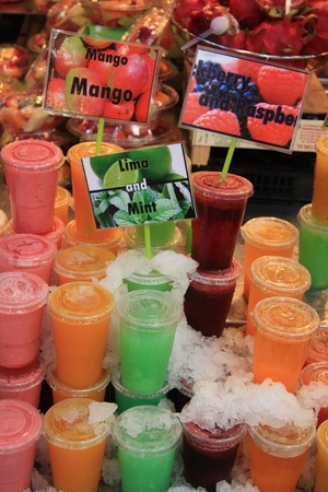 Take away fruit drinks at the market in Barcelona photo