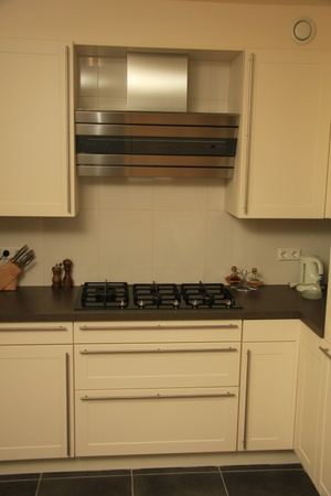 Modern contempory styled kitchen in off white with stainless steel photo