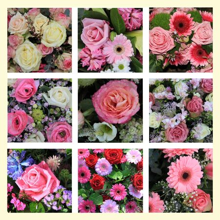 XL-collage , mixed pink flower arrangement, 9 high resolution images Stock Photo - 14538430