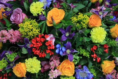 mixed flower bouquet: mixed floral arrangement in many bright colors