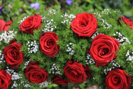 burial: Red roses and white gypsophila in a funeral wreath Stock Photo