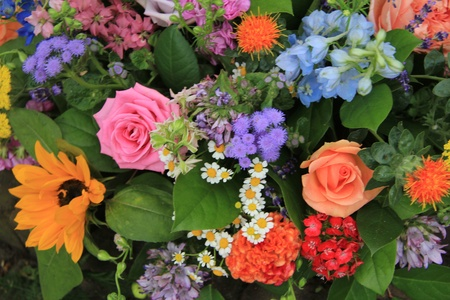 mixed flower bouquet: Mixed floral arrangement in many different colors