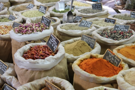 Herbs and spices in jute bags at a Provencal market in France Stock Photo - 15270006