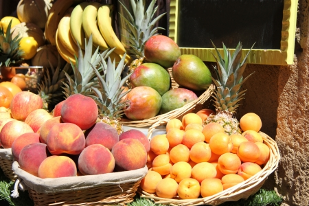 Stacked fruits at a juice bar in France Stock Photo - 15268278
