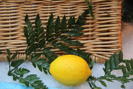 wicket: Lemon and wicket basket still life at a French market