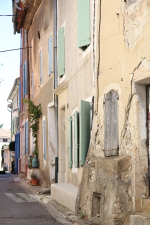 Street in the Provence, plastered houses in various colors photo