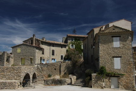 provencal: View to an old village in the heart of the Provence Stock Photo