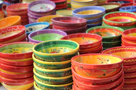 Traditional pottery at a local market in the Provence, France photo