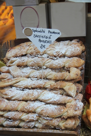French almond pastry on display in a shop