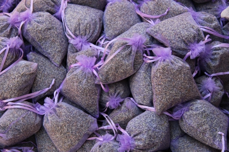 sachets: lavender scented bags at a market in the Provence, France
