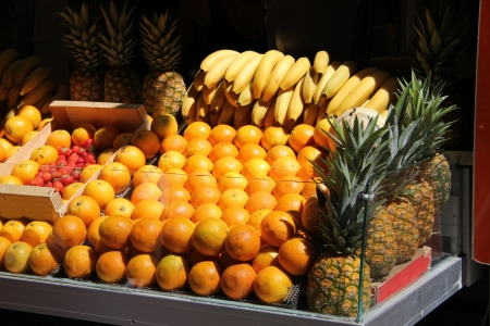 Stacked fruits at a juice bar in France Stock Photo - 15269264