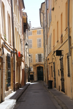 Plastered facades in traditional Provencal colors in Aix-en-provence photo