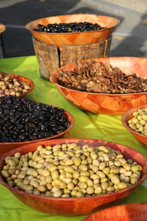 provencal: Assorted olives at a Provencal market in France Stock Photo