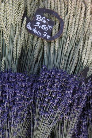 Small bouquets of lavender and wheat for sale at a Provencal market photo