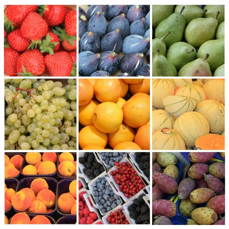 Nine different XL images of fruits in various colors photo
